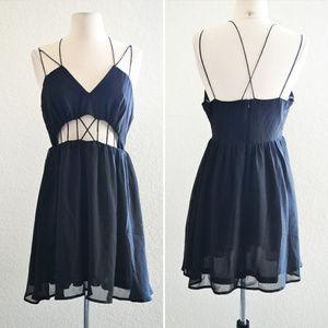 Dresses & Skirts - Black Criss Cross Peekaboo Dress